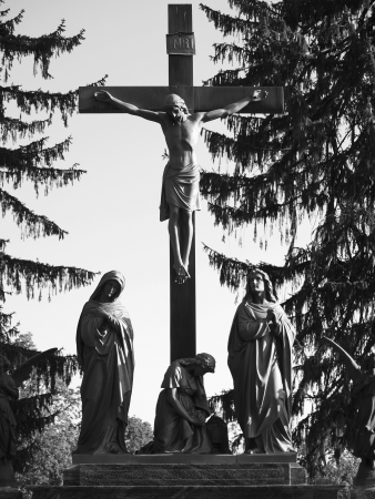 inri: Jesus on Cross with Mary and Mourners; Black and White