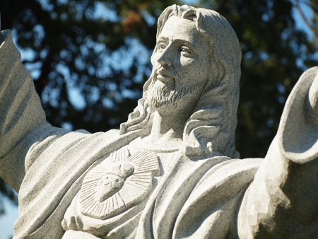 Jesus; Closeup of Christ with Uplifted Hands