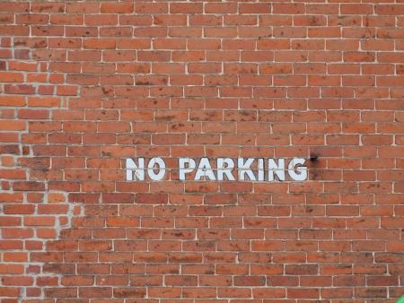 no parking: Brick  No Parking  Wall