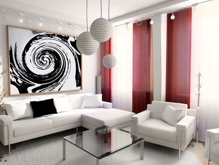 Modern, inter, house, dwelling, design, technology, 3d Stock Photo - 677186