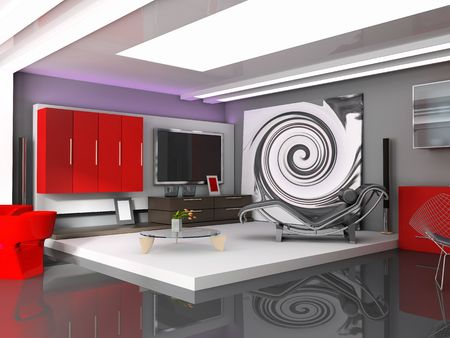 fixture: Modern, interior, house, dwelling, design, technology, 3d, Illustration Stock Photo