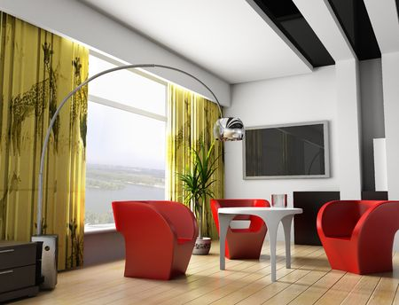Modern interior of a room, exclusive design photo