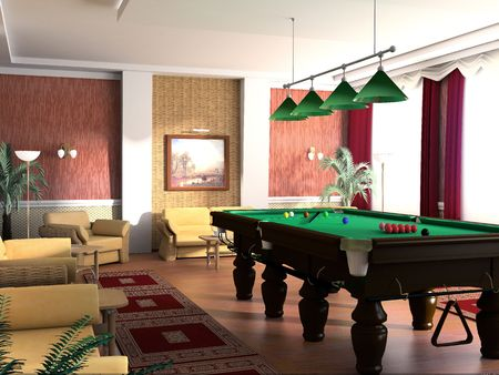 Room for game in billiards, 3d