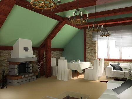 dwelling: Classical interior of a room, exclusive design Stock Photo