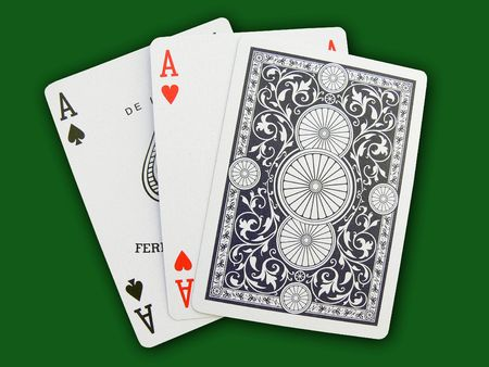 Playing cards and accessories on a background