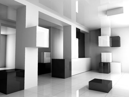 The white interior is black 3d image photo