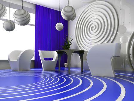 verde: Modern interior of cafe in VERDE 3d image
