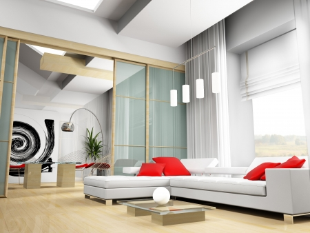 Exclusive interior of modern inhabited space 3d image photo