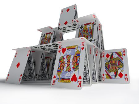The card house on a white background 3d image
