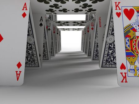 playing cards: The card house on a white background 3d image