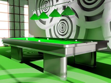 Interior of a billiard room 3D the image photo