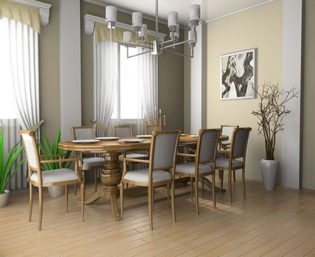 Restaurant a room in classical execution 3d image