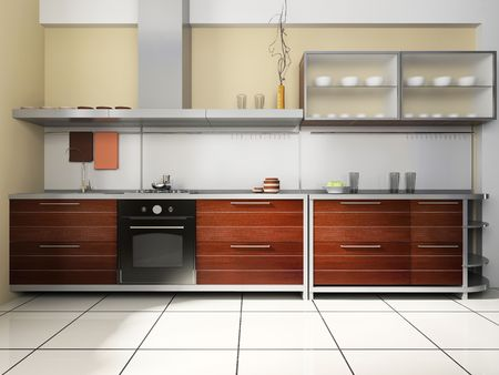 Kitchen set on a background of  wall
