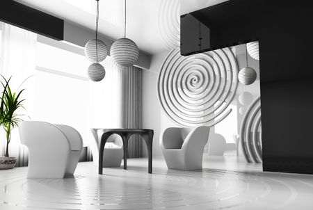 Modern interior with concentric circles on a floor