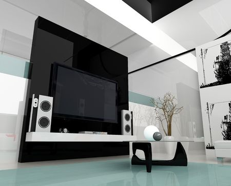 drawing room: Interior of a modern white drawing tv room Stock Photo