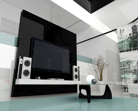 Inter of a modern white drawing tv room Stock Photo - 2409662