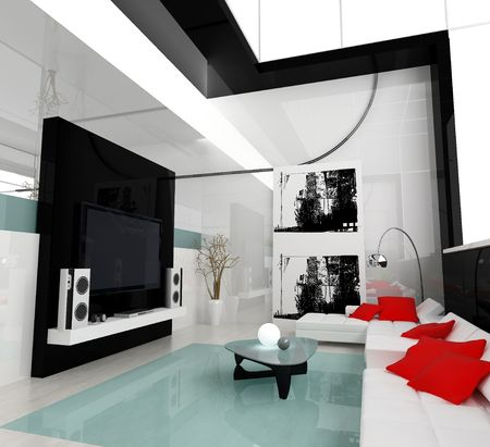 designer chair: Interior of a modern white drawing tv room Stock Photo