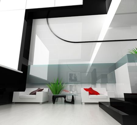 Inter of a modern white drawing room Stock Photo - 2409656