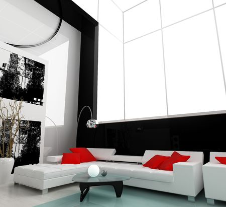Inter of a modern white drawing room Stock Photo - 2409658