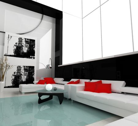 Interior of a modern white drawing tv room Stock Photo - 2409659
