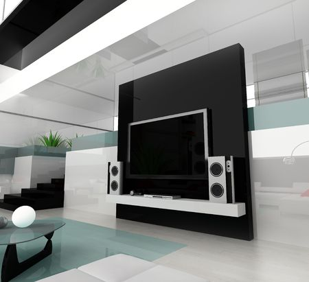 Interior of a modern white drawing room Stock Photo - 2409657