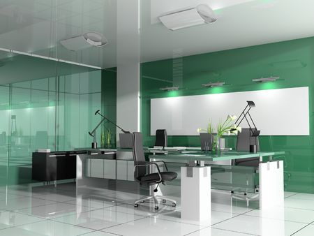 office life: The modern interior of office 3d image
