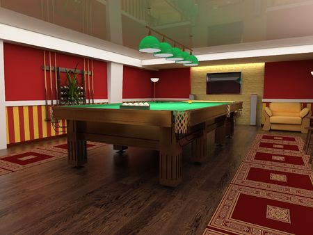 pool halls: billiard table in red room 3d image Stock Photo
