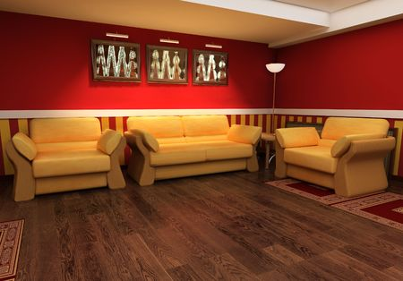 Exclusive interior red drawing room 3d image Stock Photo - 2596512