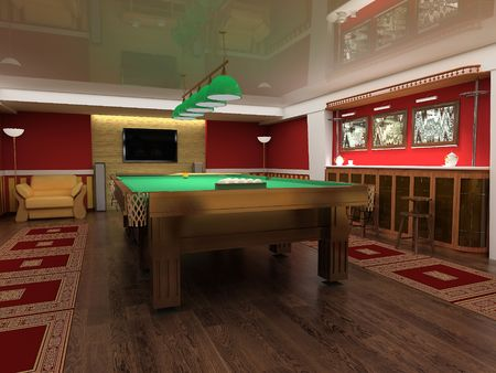 snooker tables: billiard table in red room 3d image Stock Photo