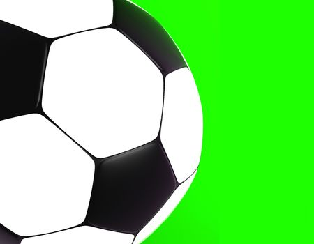 socca: soccer ball on green background 3d image