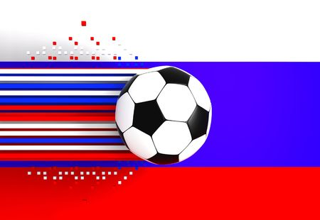 socca: soccer ball on background of the flag russia