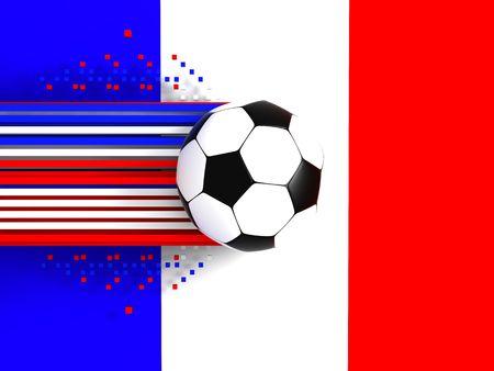 socca: pallone da calcio a sfondo della bandiera francia