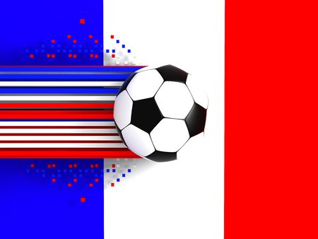 socca: soccer ball on background of the flag france