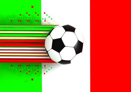 socca: pallone da calcio a sfondo della bandiera italia