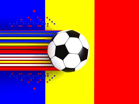 socca: soccer ball on background of the flag
