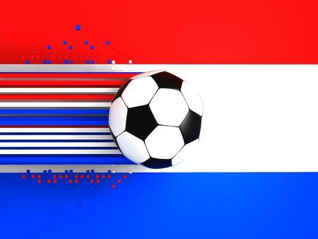 socca: pallone da calcio a sfondo della bandiera Olanda  Archivio Fotografico