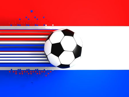 socca: soccer ball on background of the flag holland