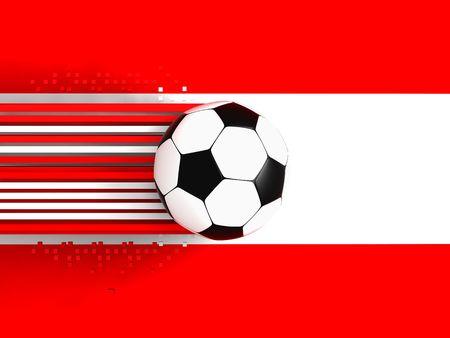 socca: pallone da calcio sul fondo di bandiera Austria