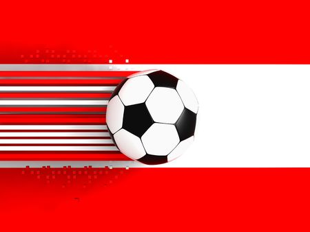 socca: soccer ball on background of the flag austria Stock Photo
