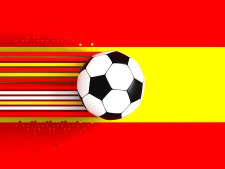 socca: pallone da calcio sul fondo di bandiera Spagna Archivio Fotografico