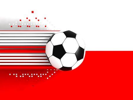 socca: pallone da calcio a sfondo della bandiera polonia  Archivio Fotografico