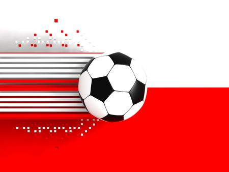 socca: soccer ball on background of the flag poland