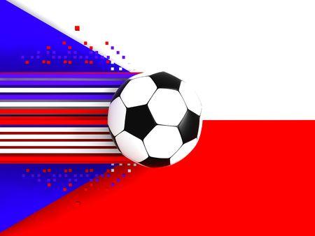 socca: pallone da calcio sul fondo di bandiera chech Archivio Fotografico