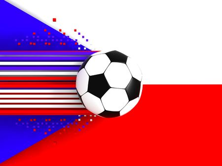 socca: soccer ball on background of the flag chech Stock Photo