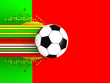 socca: soccer ball on background of the flag portugal