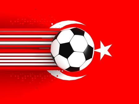 socca: soccer ball on background of the flag turkey