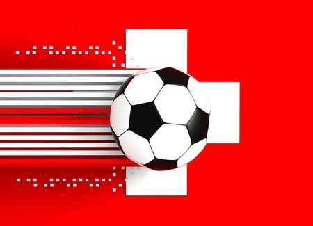 socca: pallone da calcio a sfondo della bandiera svizzera