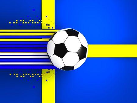 socca: pallone da calcio a sfondo della bandiera svezia  Archivio Fotografico