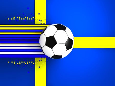 socca: soccer ball on background of the flag sweden Stock Photo