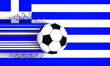 socca: pallone da calcio a sfondo della bandiera grecia